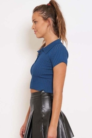 Better Be Ribbed Collared Crop Top - Front full body