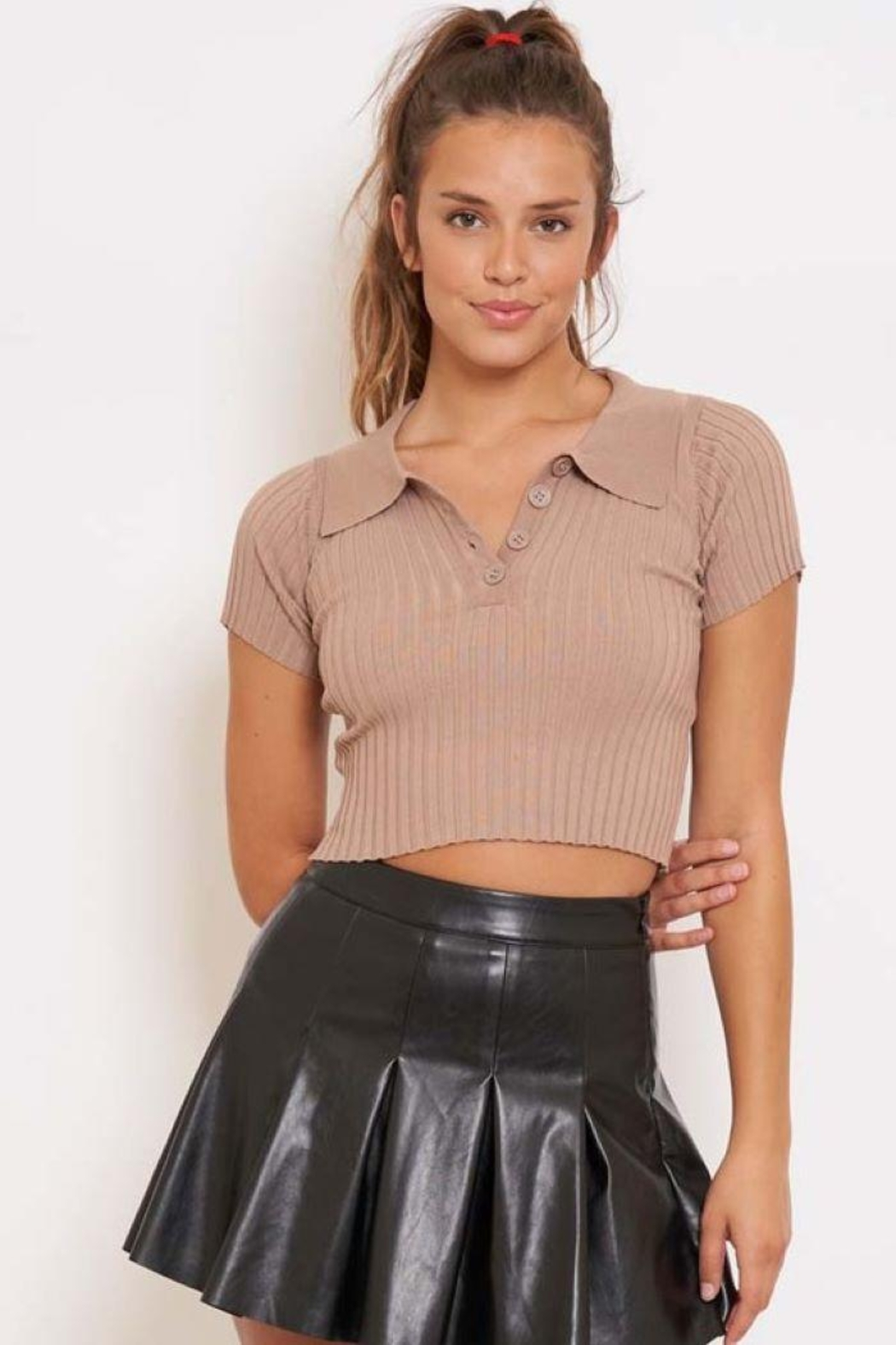 Better Be Ribbed Collared Crop Top - Main Image