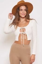 Better Be Ribbed Front Tie Longlseeve - Front cropped