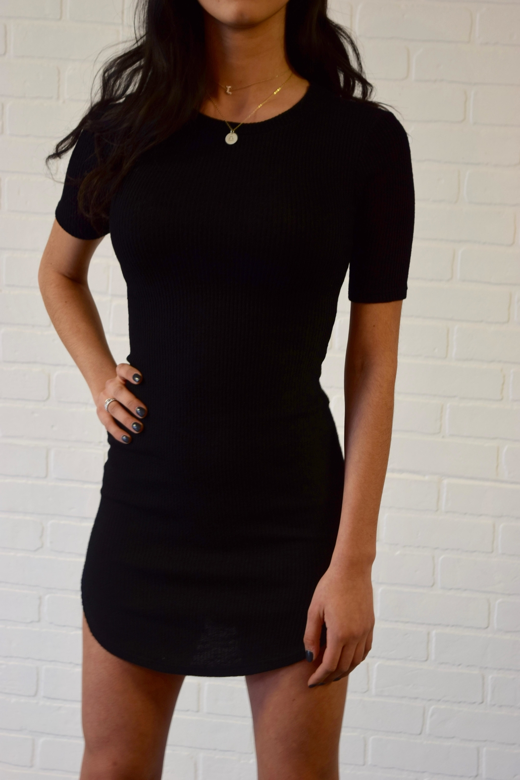 Better Be Ribbed Mini Dress - Side Cropped Image