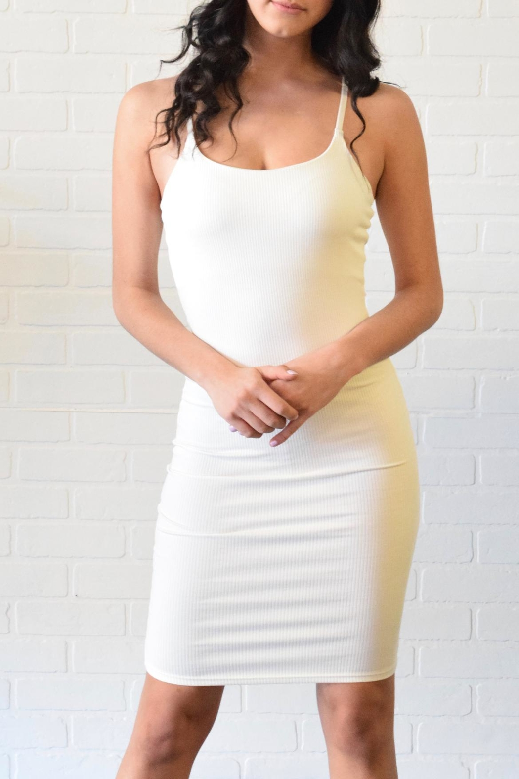 Better Be Ribbed Spaghetti Dress - Front Cropped Image