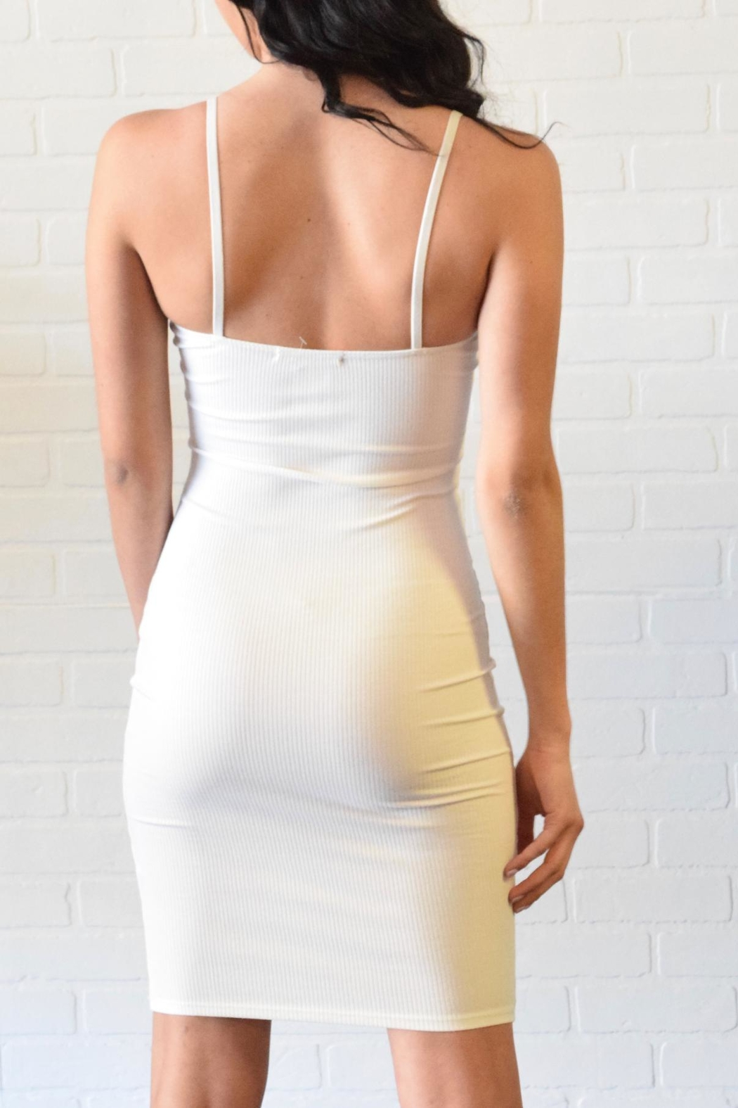 Better Be Ribbed Spaghetti Dress - Side Cropped Image