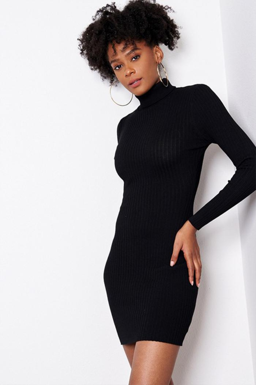 Better Be Ribbed Turtle-Neck Dress - Main Image