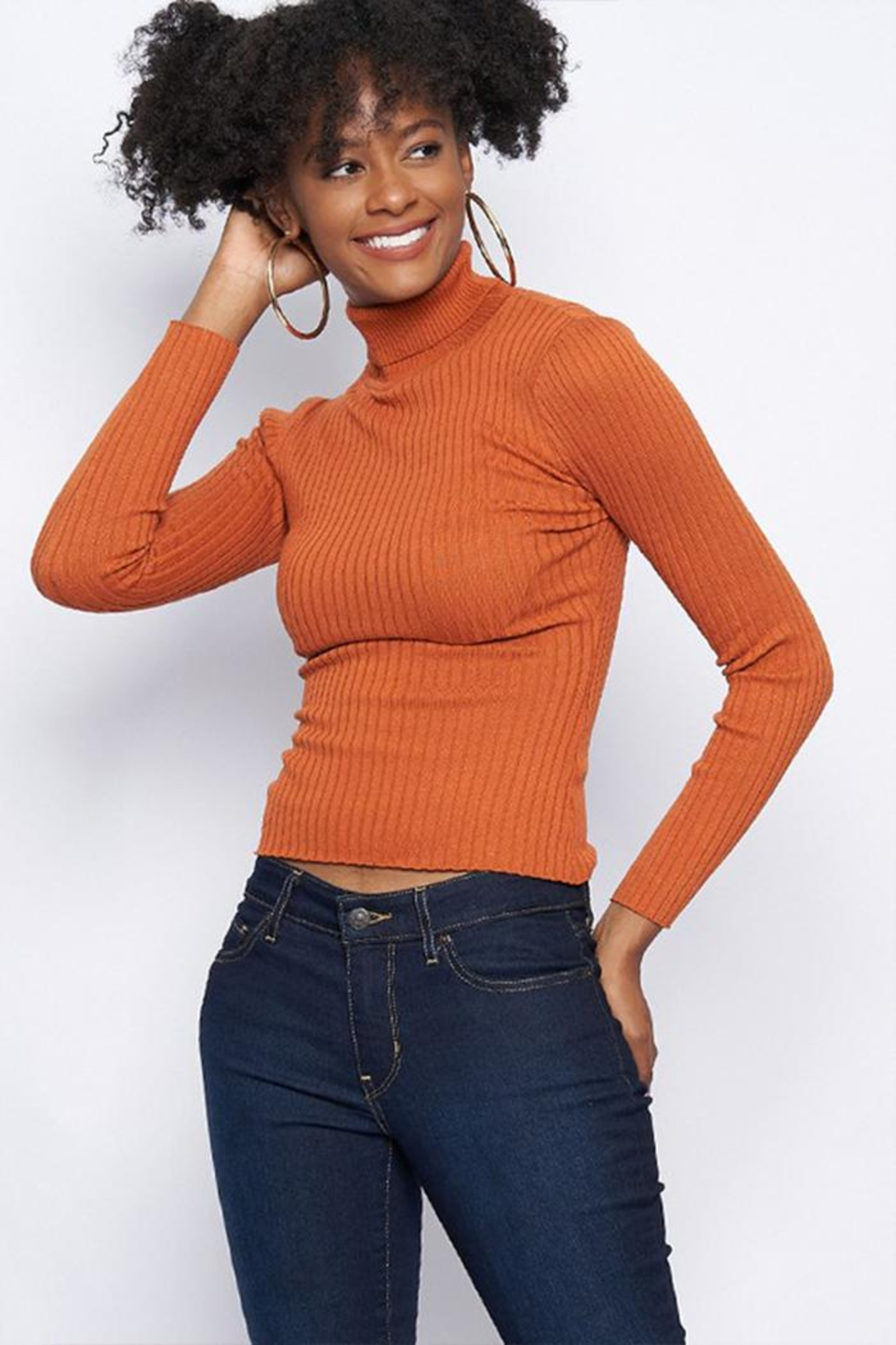Better Be Ribbed Turtle-Neck Sweater - Front Cropped Image