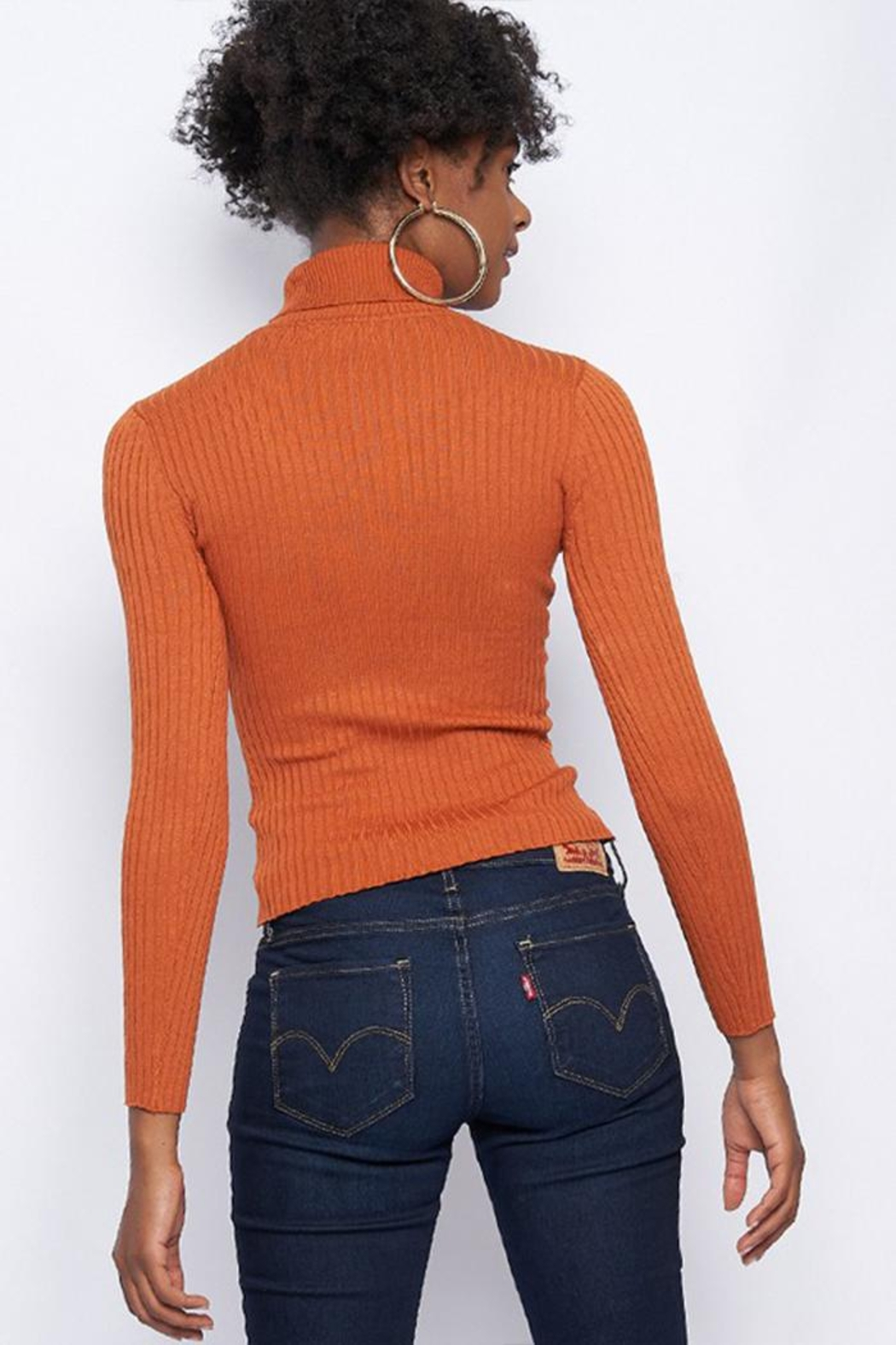 Better Be Ribbed Turtle-Neck Sweater - Front Full Image