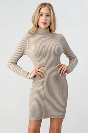 Better Be Ribbed Turtleneck Dress - Front cropped