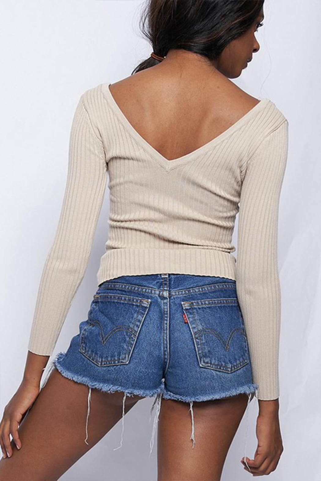 Better Be Ribbed V-Neck Sweater - Front Full Image