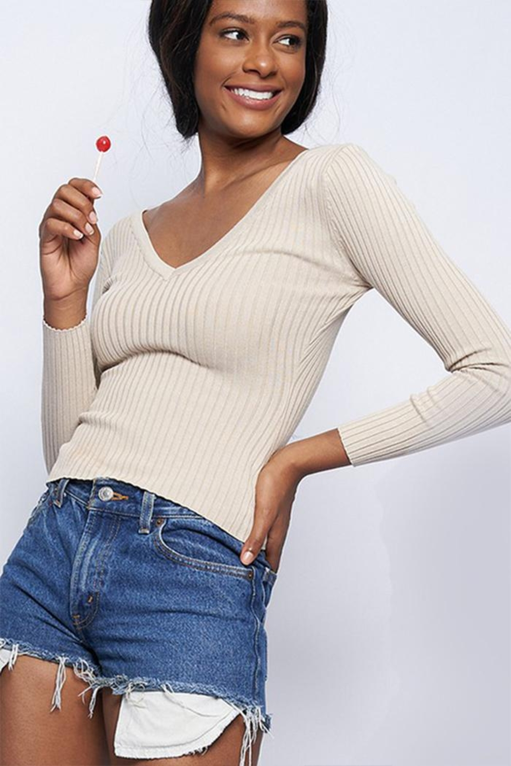 Better Be Ribbed V-Neck Sweater - Front Cropped Image
