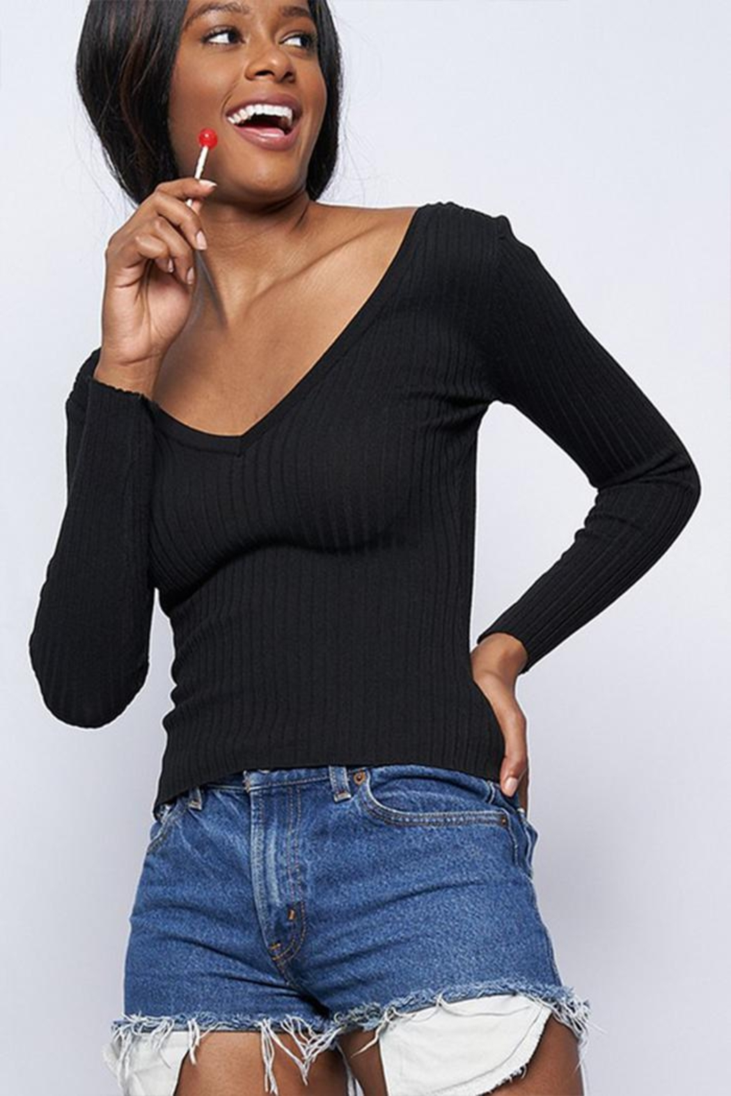 Better Be Ribbed V-Neck Sweater - Main Image
