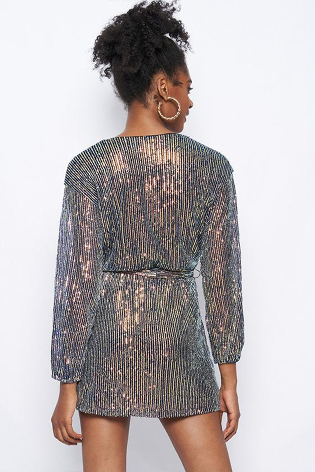 Better Be Sequin Tie-Waist Dress - Front Full Image
