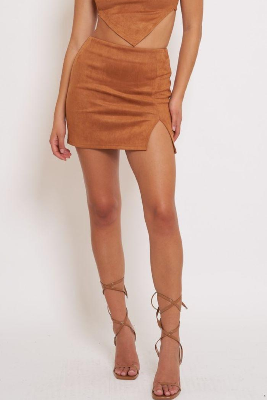 Better Be Side Slit Suede Mini Skirt - Front Cropped Image