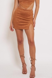 Better Be Side Slit Suede Mini Skirt - Front cropped