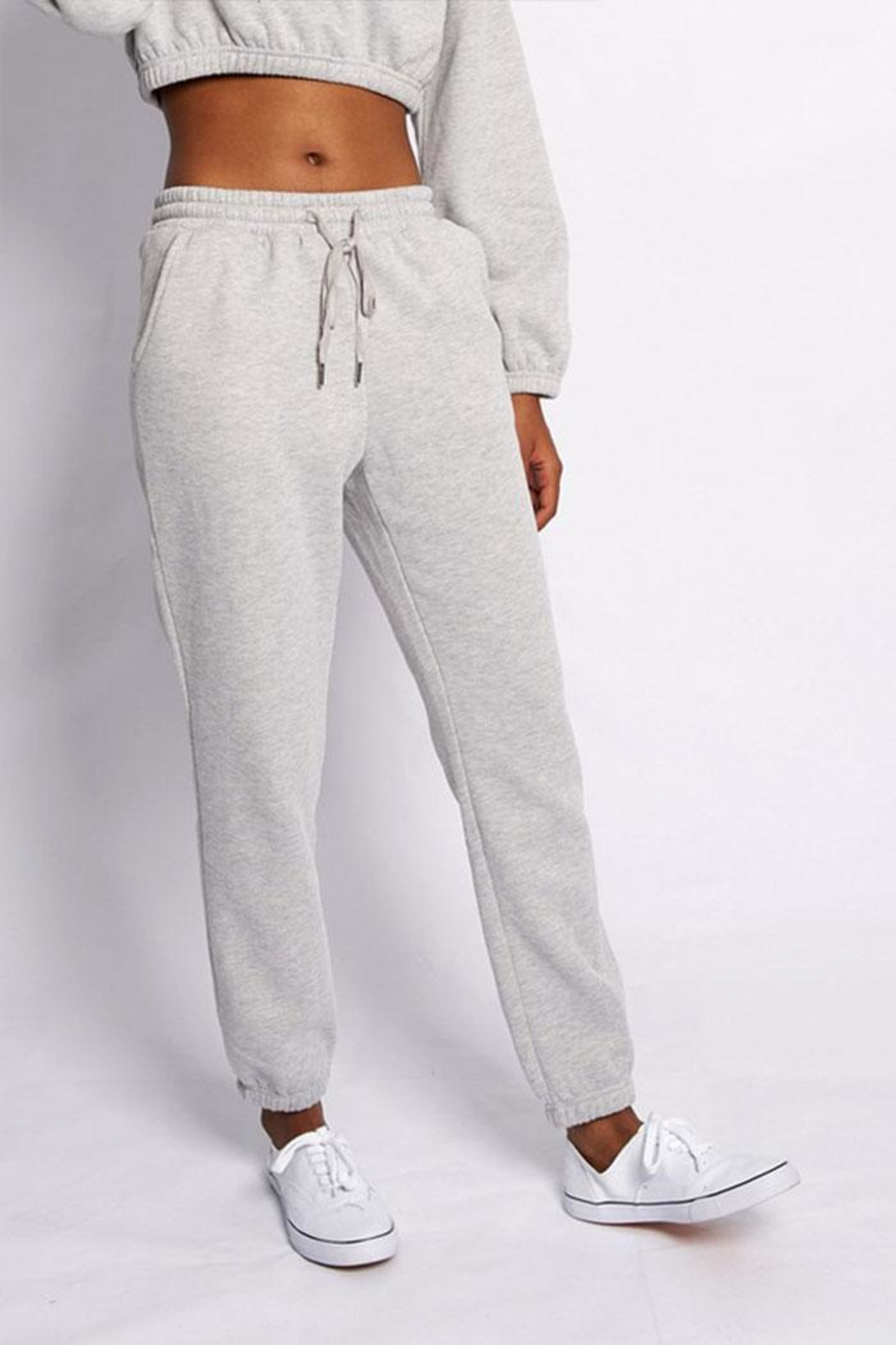 Better Be Solid Drawstring Sweatpants - Front Cropped Image