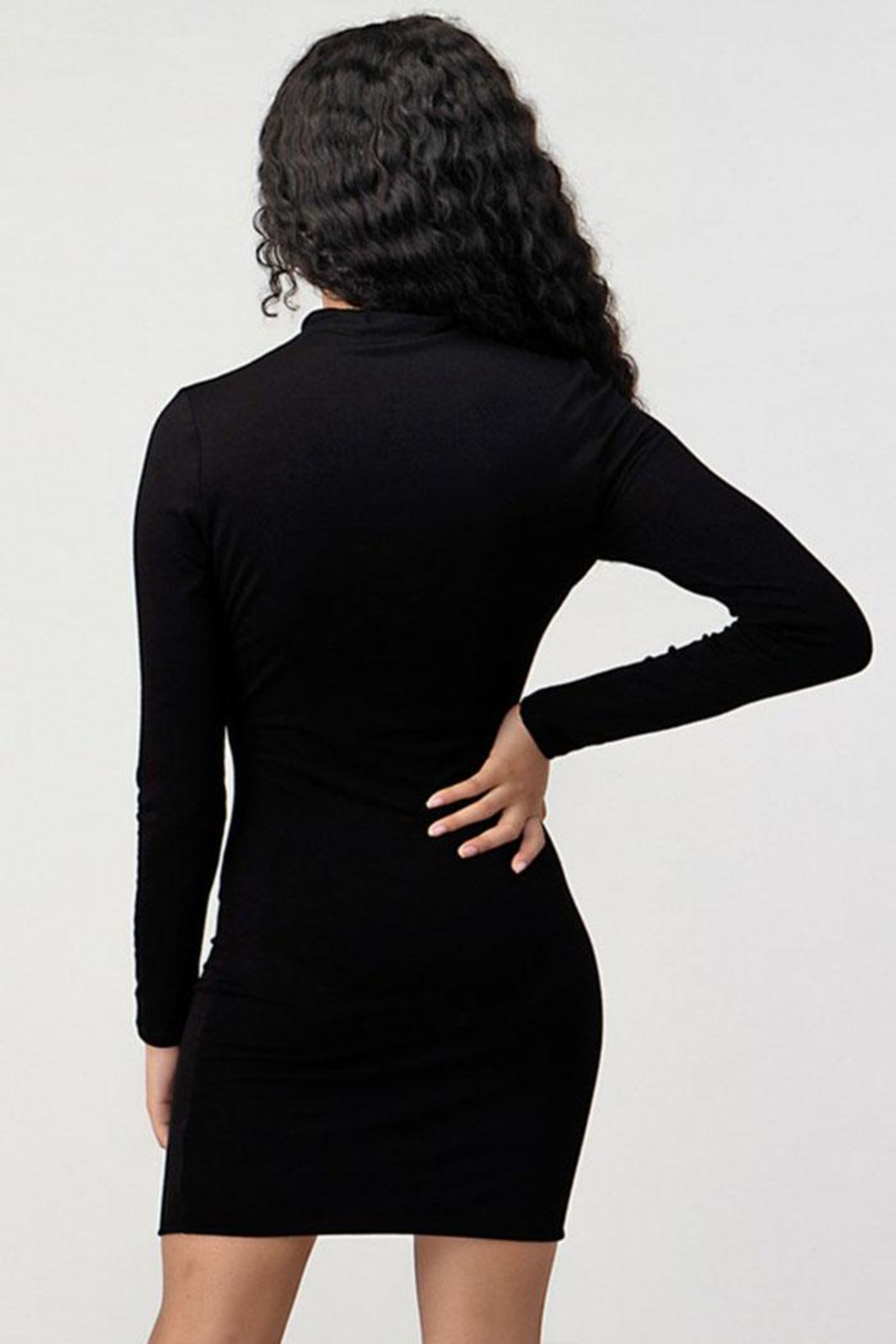 Better Be Turtleneck Black Dress - Side Cropped Image