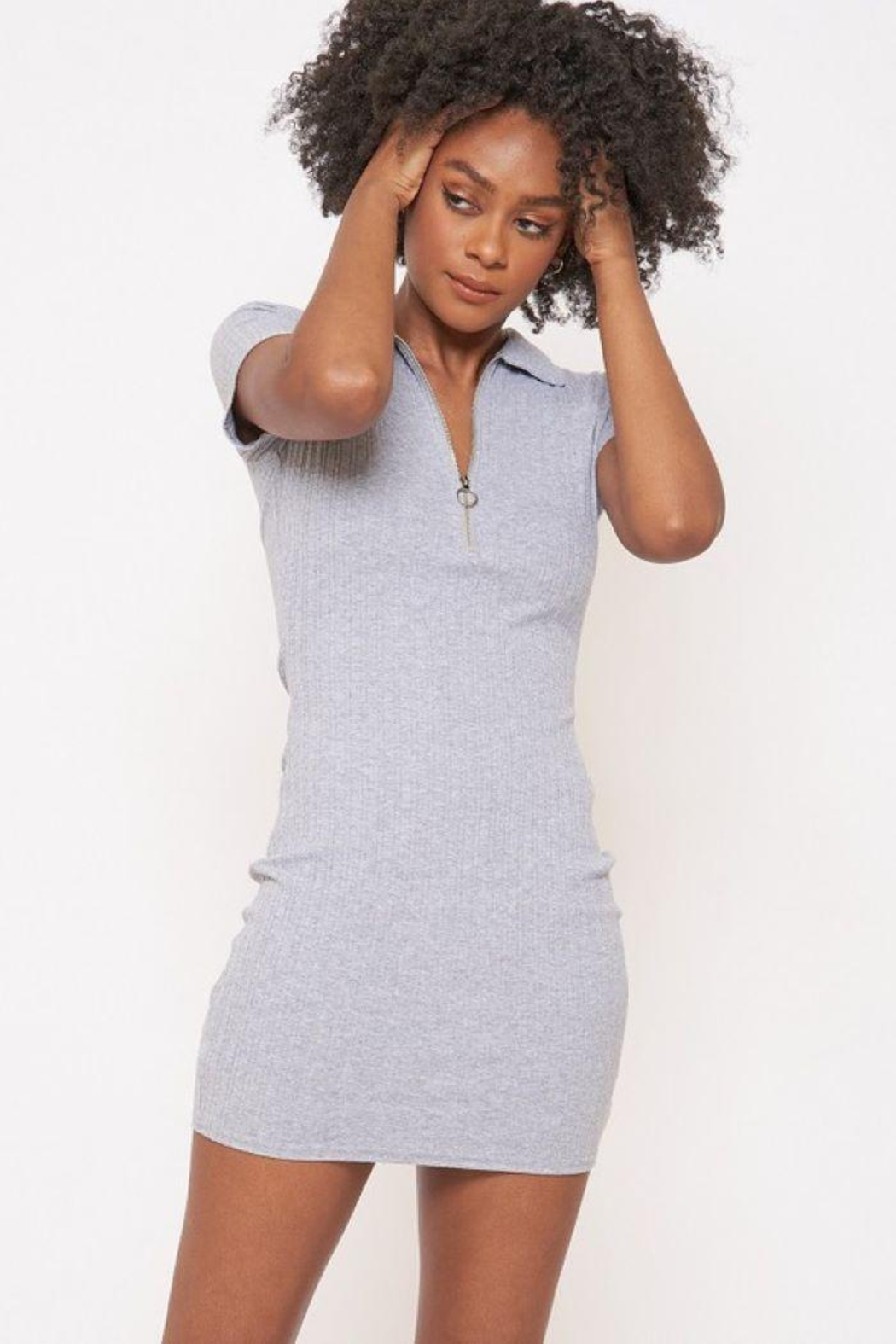 Better Be Veriegated Dress With Ring Zip - Front Cropped Image