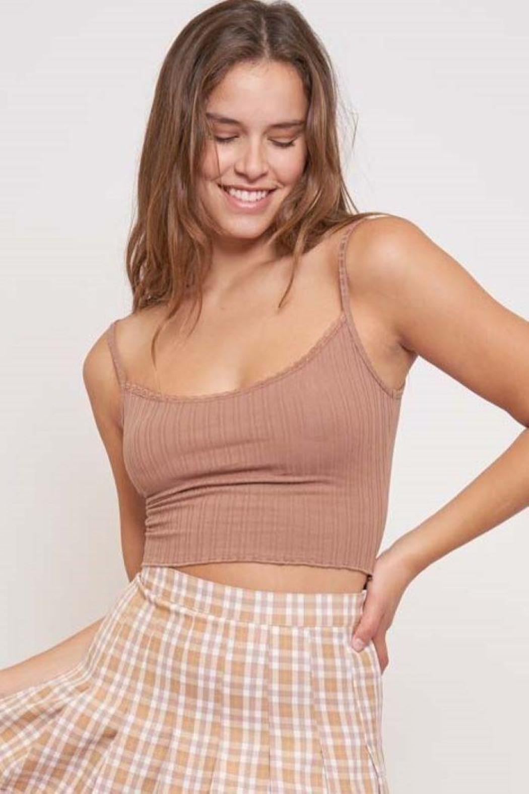 Better Be Veriegated Rib Tank Top With Lace - Front Full Image