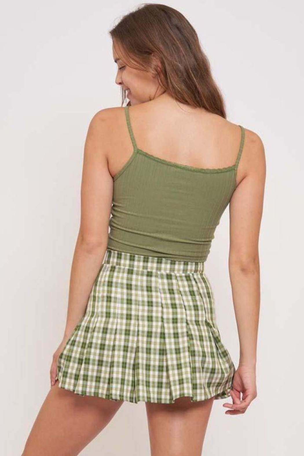Better Be Veriegated Rib Tank Top With Lace - Back Cropped Image