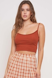 Better Be Veriegated Rib Tank Top With Lace - Front cropped