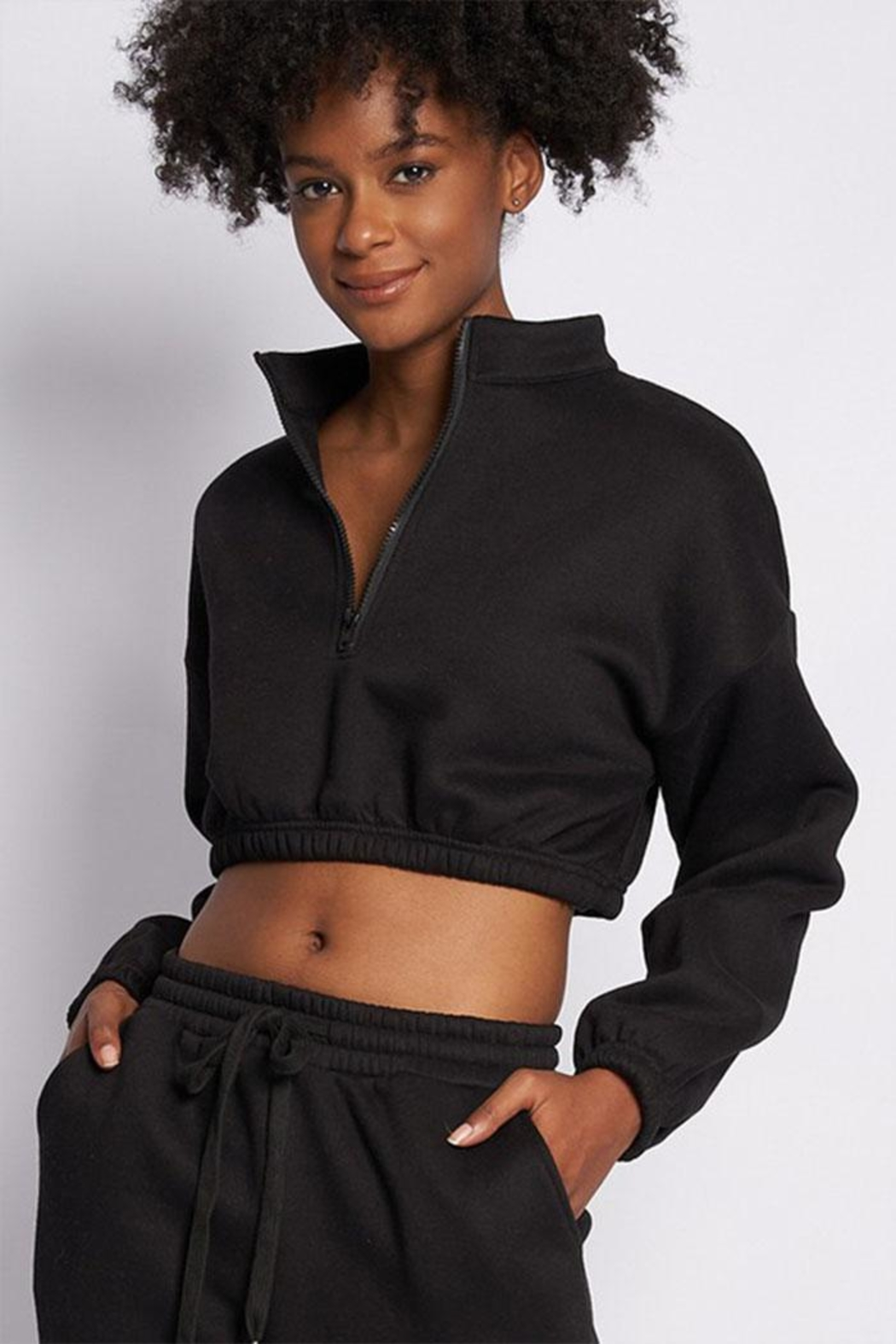 Better Be Zip Crop Sweater - Front Cropped Image