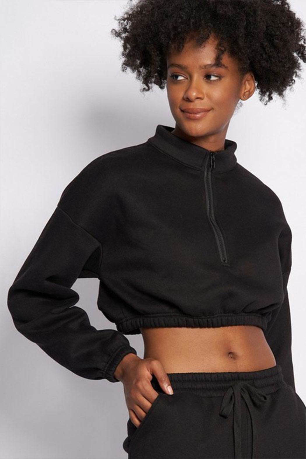 Better Be Zip Crop Sweater - Side Cropped Image
