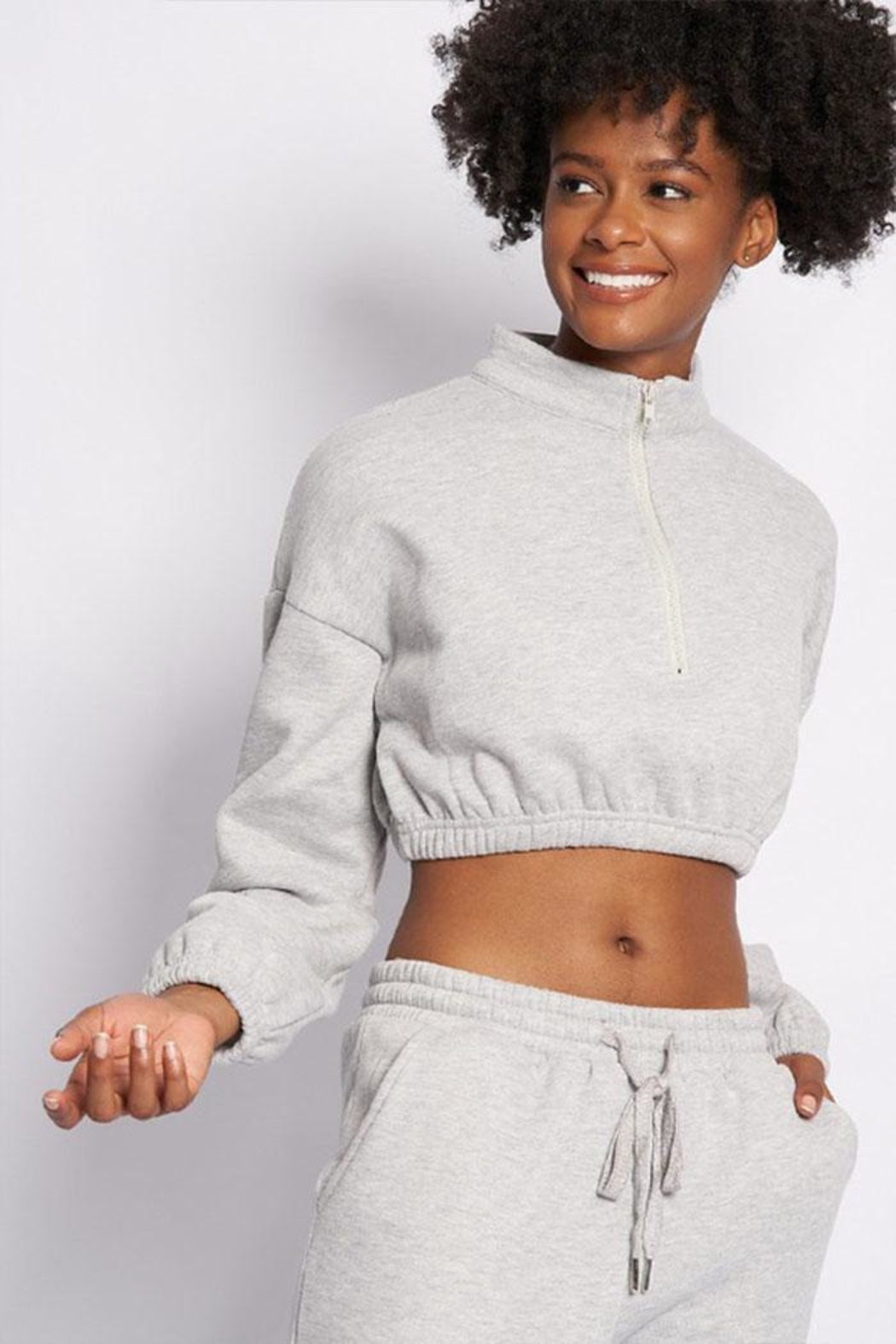 Better Be Zip Crop Sweater - Front Full Image