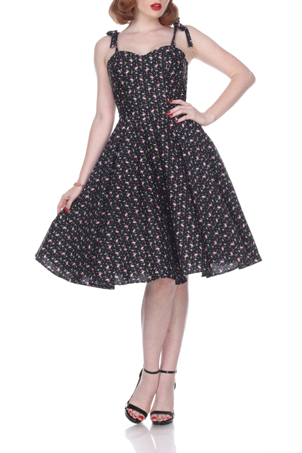 Bettie Page Clothing Flamingo Swing Dress - Main Image