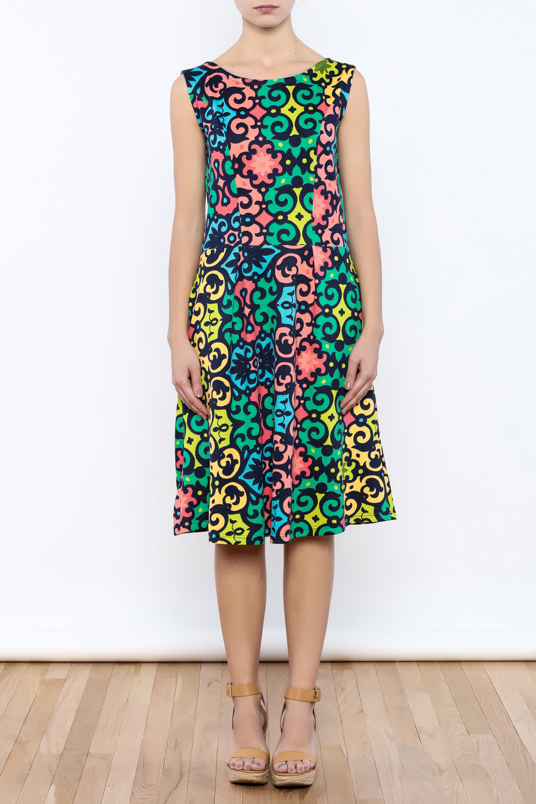 Betty Jeffries Multicolor Knit Dress - Front Cropped Image