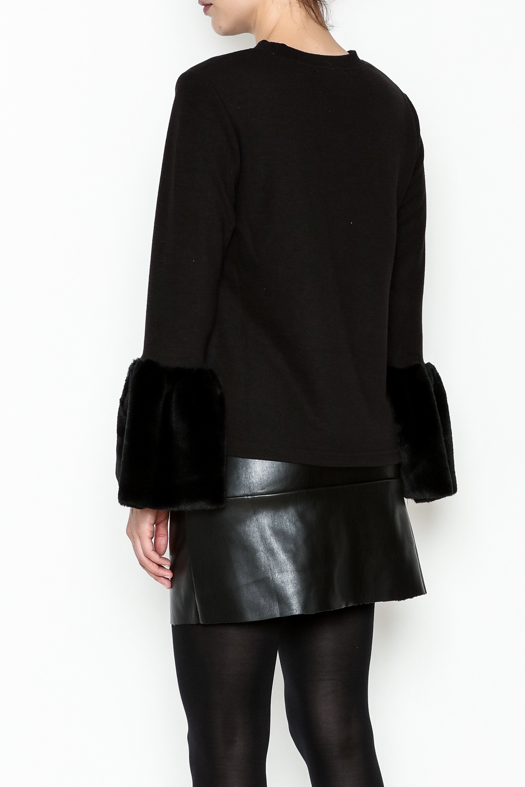 beulah Fur Sleeve Top - Back Cropped Image