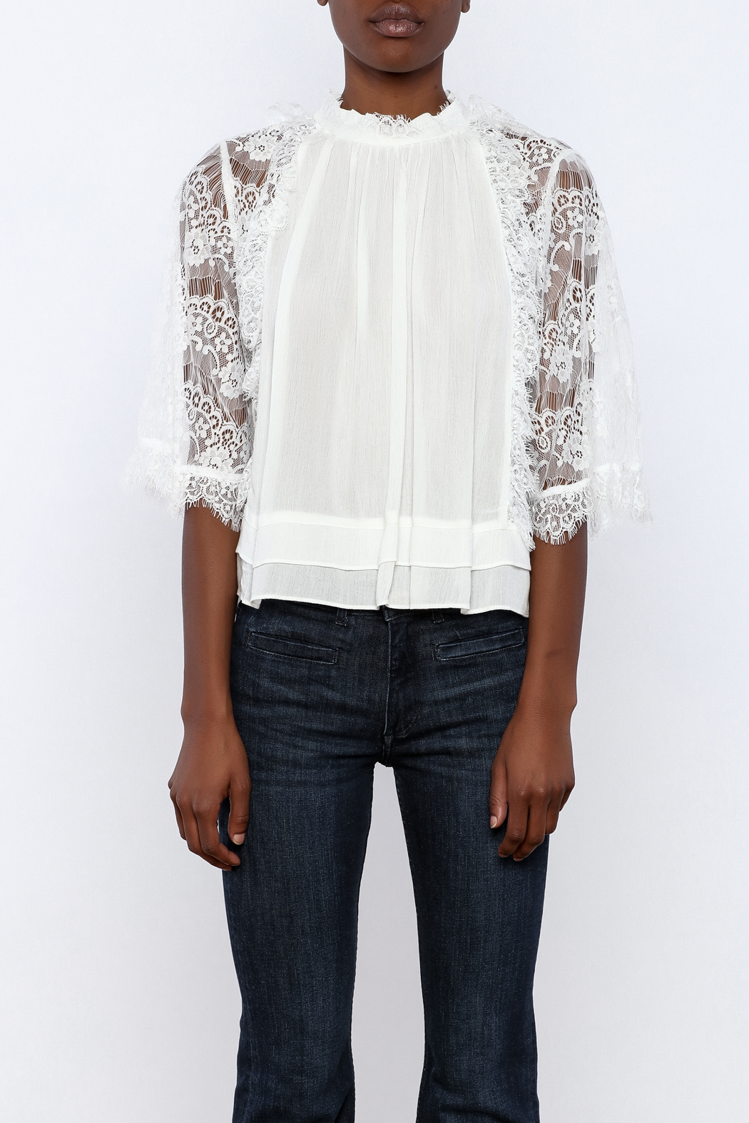 beulah Lace Sleeve Top - Side Cropped Image