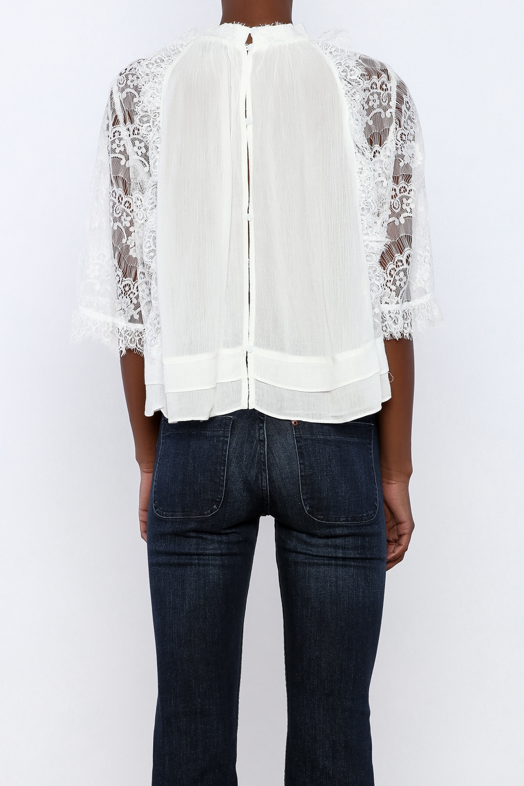 beulah Lace Sleeve Top - Back Cropped Image
