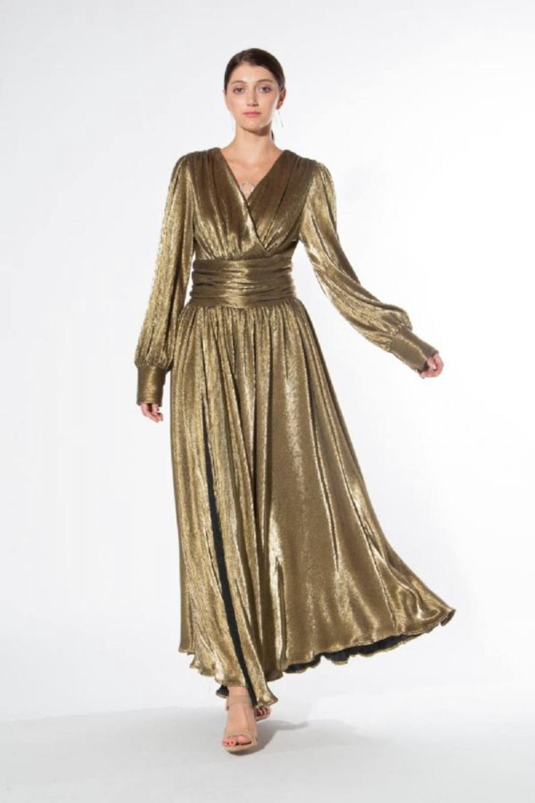 beulah Metallic-Gold Pleated Maxi-Dress - Front Full Image