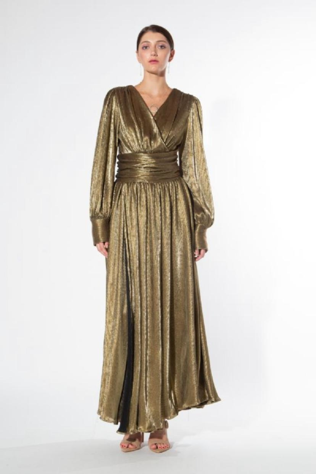 beulah Metallic-Gold Pleated Maxi-Dress - Front Cropped Image