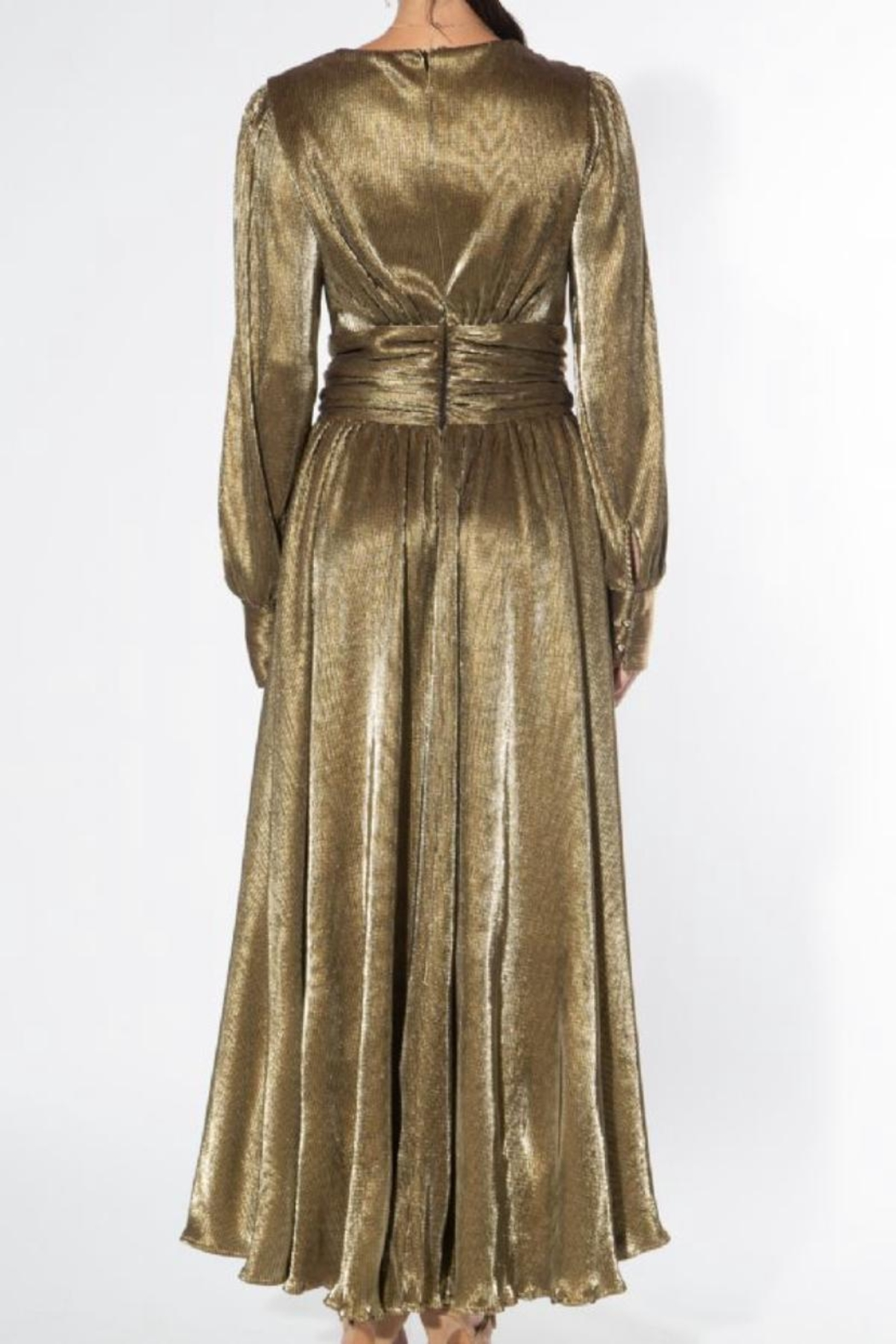 beulah Metallic-Gold Pleated Maxi-Dress - Side Cropped Image