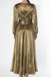 beulah Metallic-Gold Pleated Maxi-Dress - Side cropped