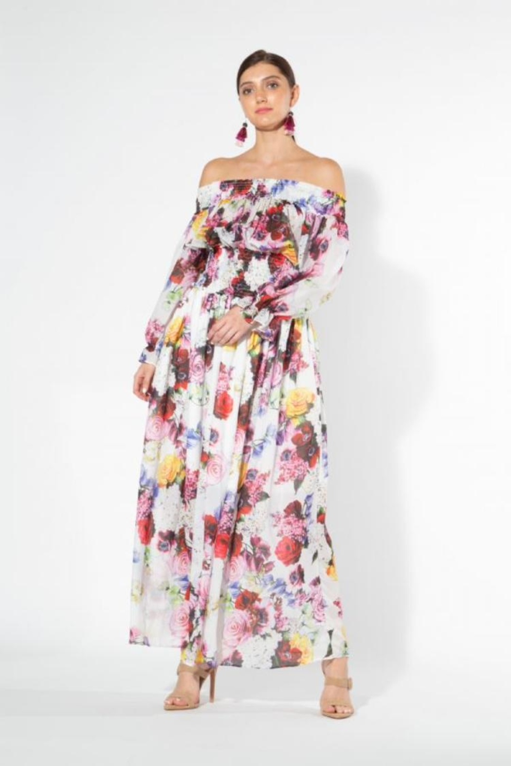beulah Off-Shoulder Floral Maxi - Front Cropped Image