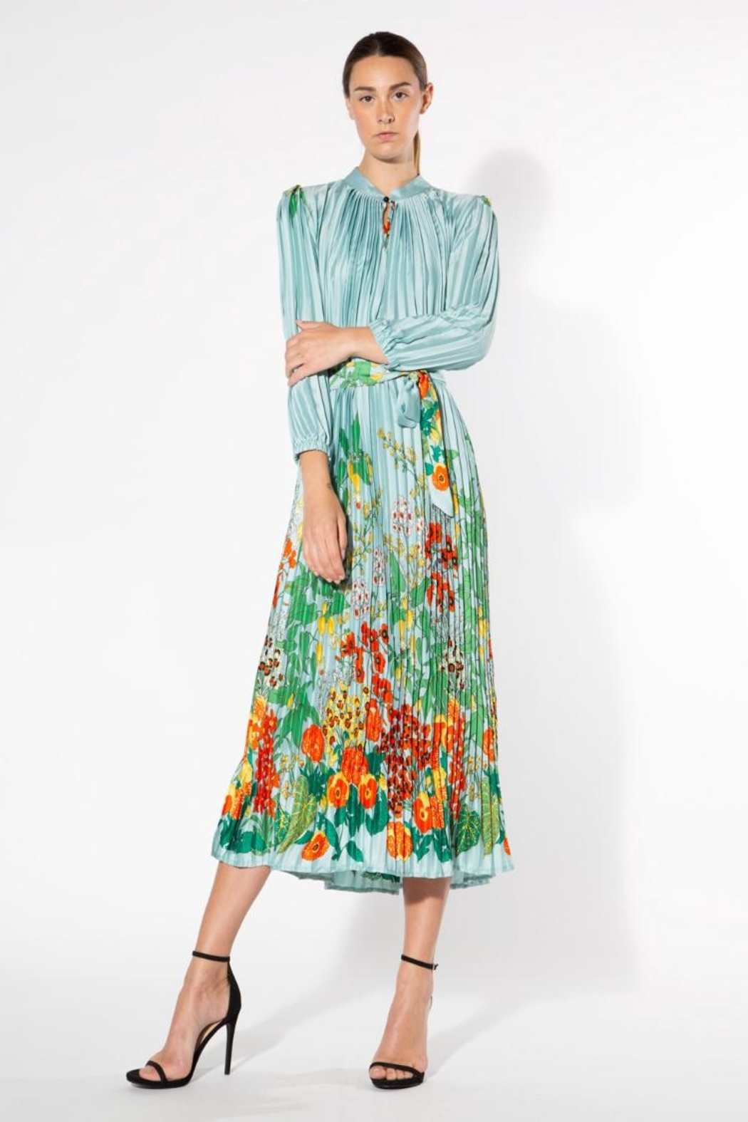beulah Pleated Floral Dress - Main Image