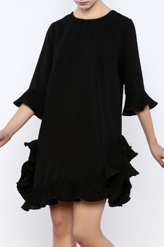 beulah Ruffle Accent Black Dress - Product List Image