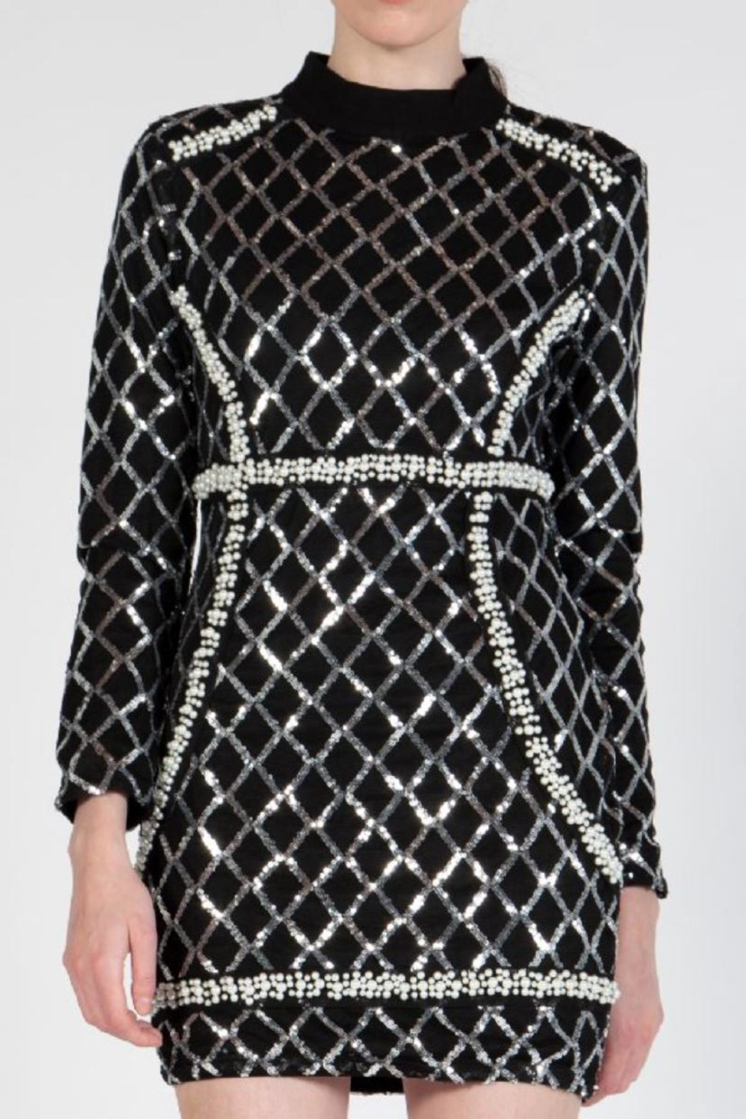 beulah Sequin Pearls Dress - Side Cropped Image