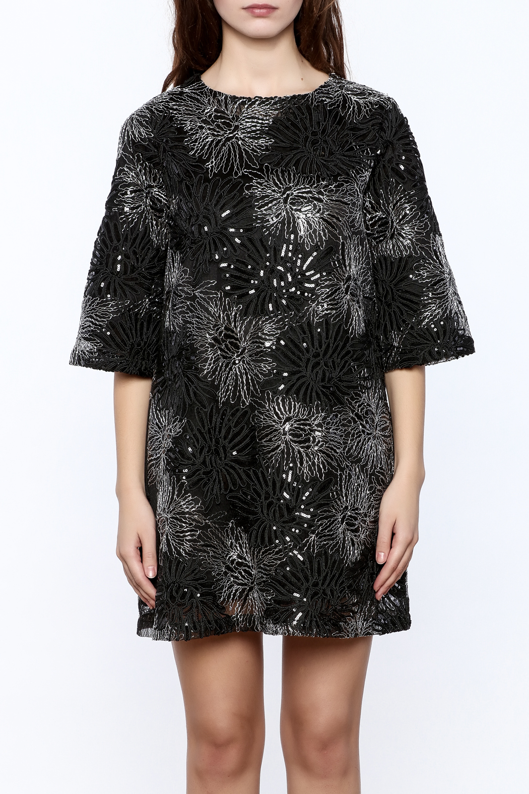 beulah Black And Silver Sequined Shift Dress - Side Cropped Image