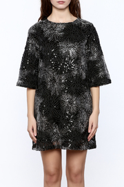 beulah Black And Silver Sequined Shift Dress - Side cropped