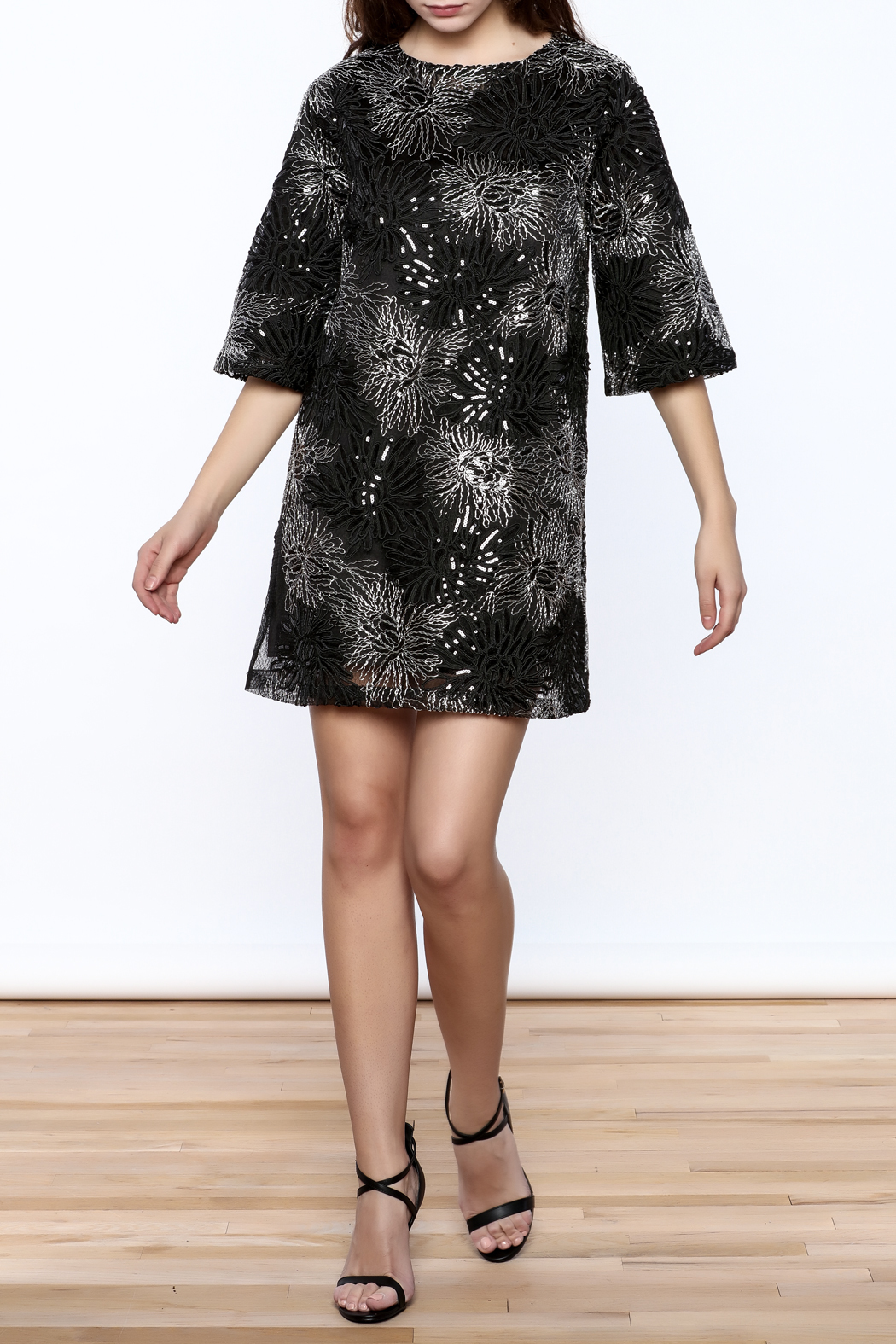 beulah Black And Silver Sequined Shift Dress - Front Full Image