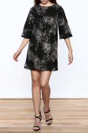 beulah Black And Silver Sequined Shift Dress - Front full body