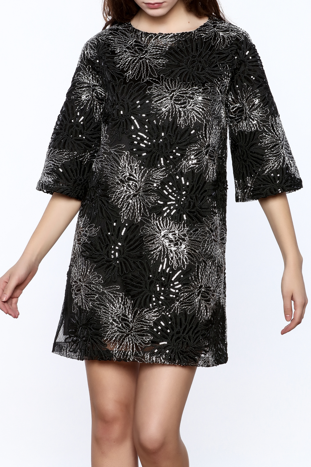 beulah Black And Silver Sequined Shift Dress - Main Image
