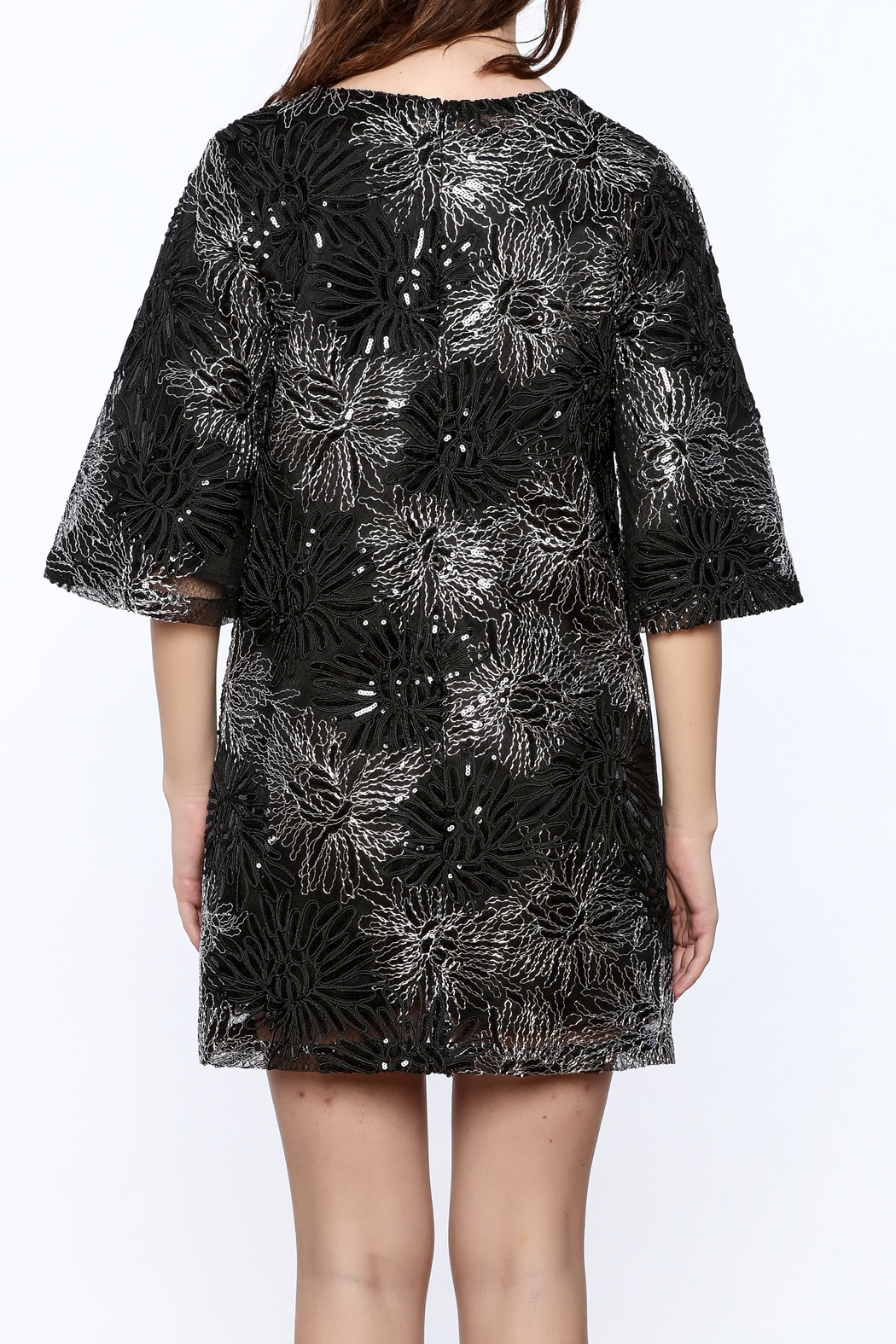 beulah Black And Silver Sequined Shift Dress - Back Cropped Image