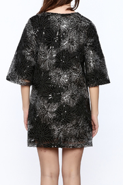 beulah Black And Silver Sequined Shift Dress - Back cropped
