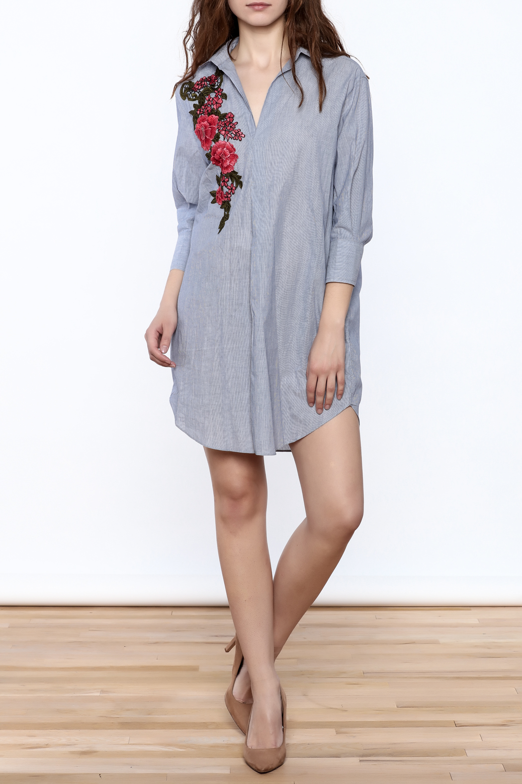 BEULAH STYLE Floral Applique Dress - Front Full Image