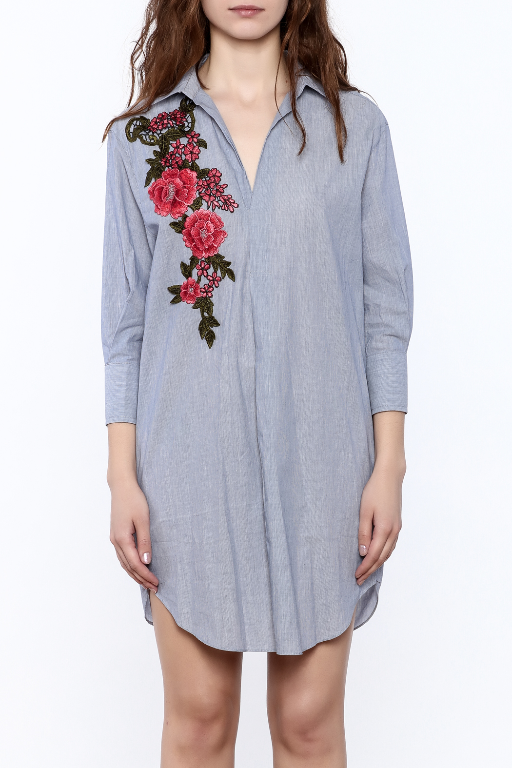 BEULAH STYLE Floral Applique Dress - Side Cropped Image