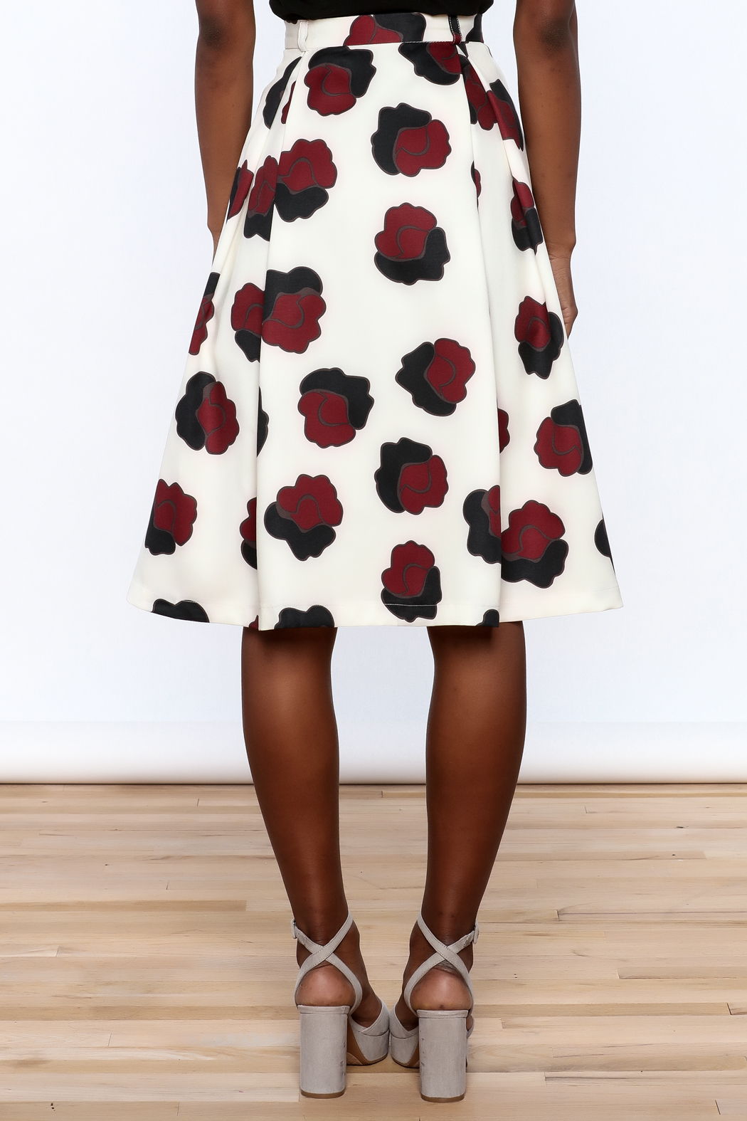 BEULAH STYLE Ivory Floral Skirt - Back Cropped Image