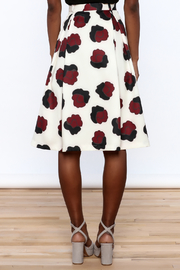 BEULAH STYLE Ivory Floral Skirt - Back cropped