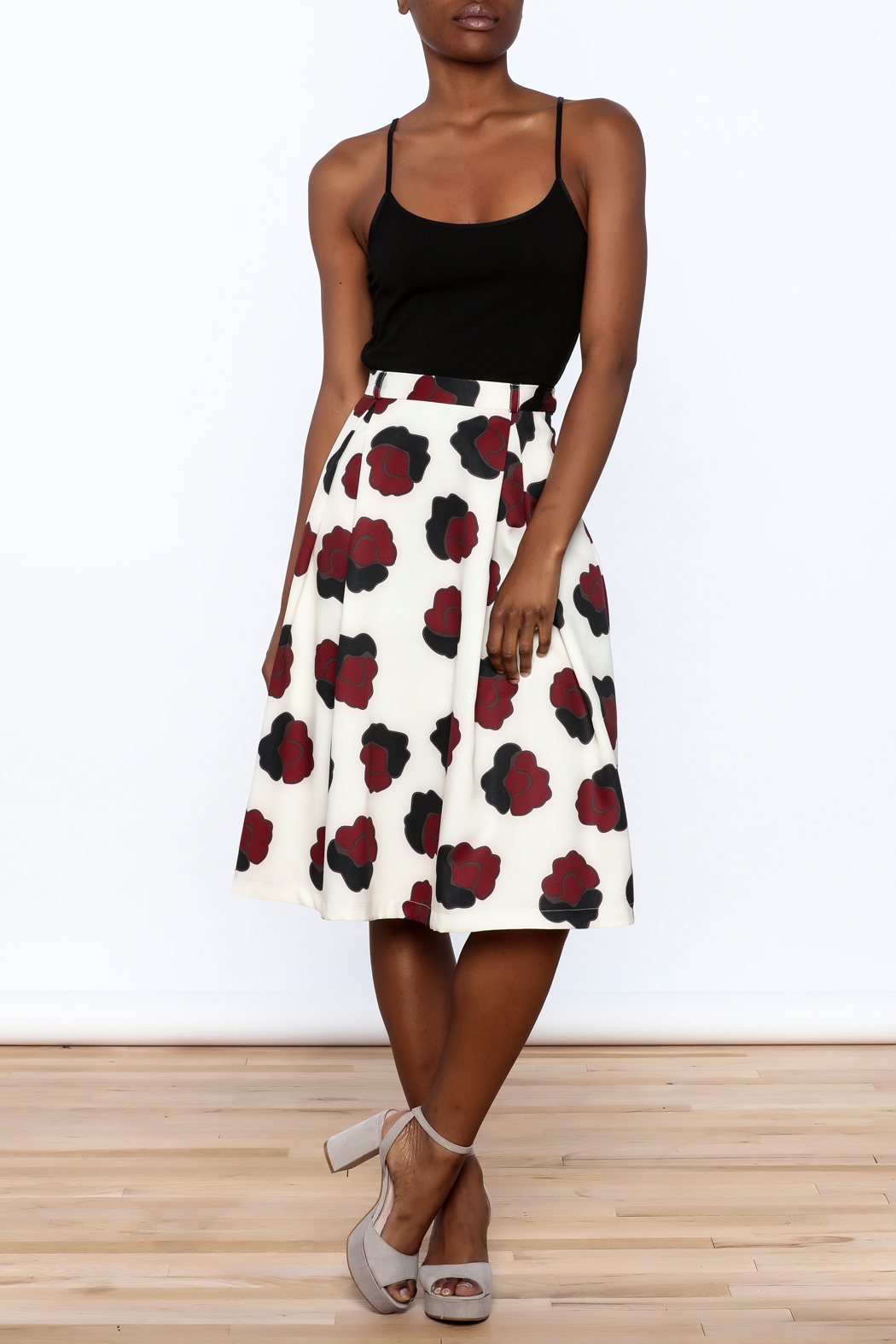 BEULAH STYLE Ivory Floral Skirt - Front Full Image